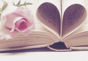 wedding book with rose