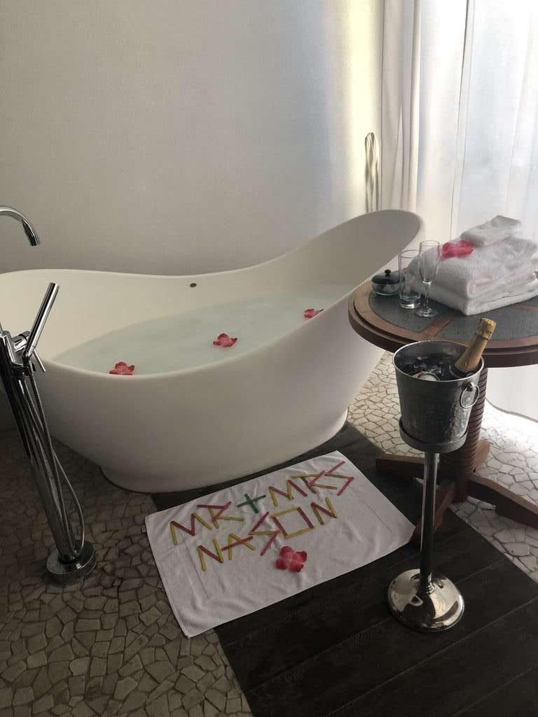 Sandals Grenada Soaking Tub prepared by butler