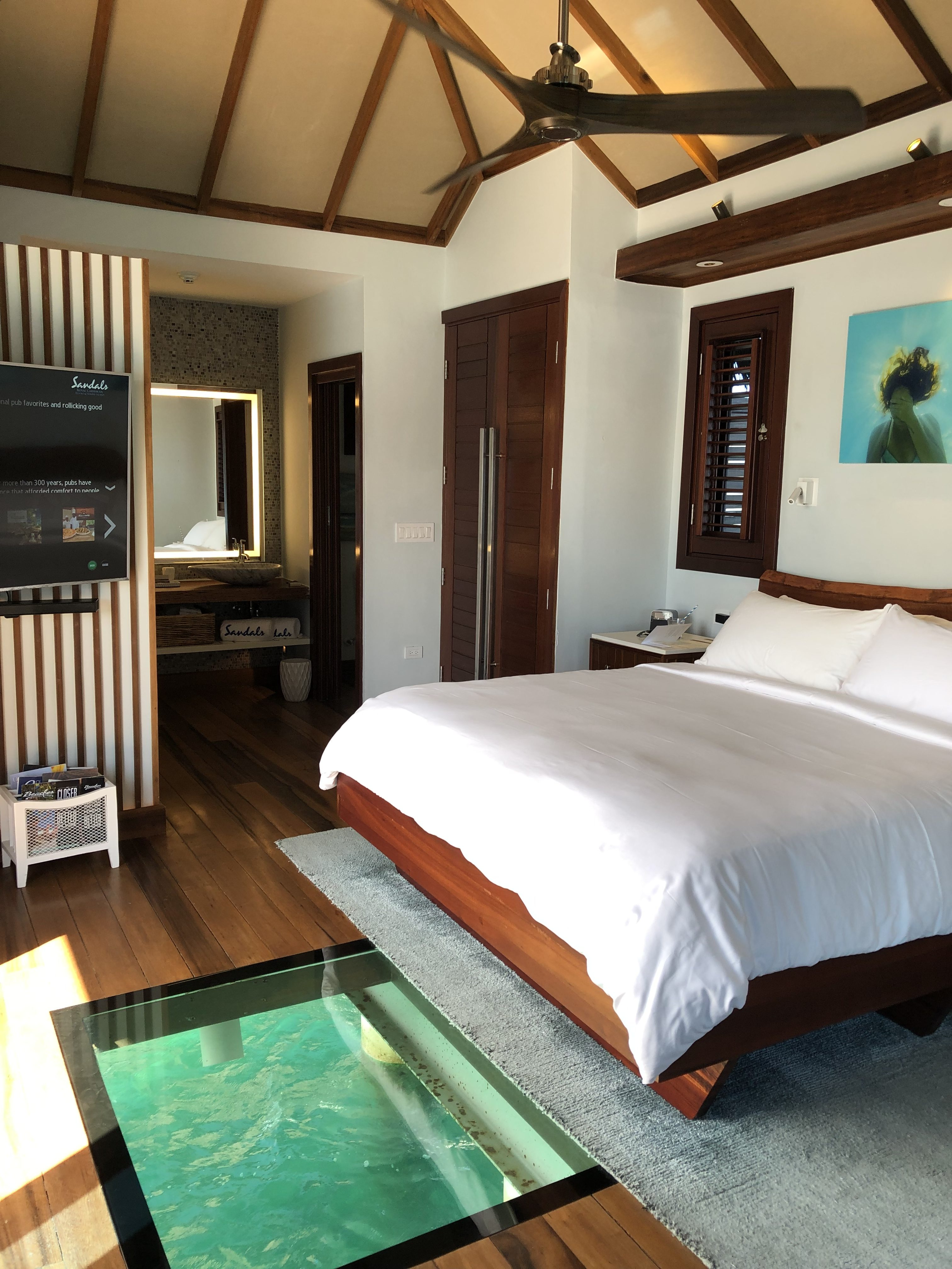 All Inclusive Over the Water Bungalow king size bed