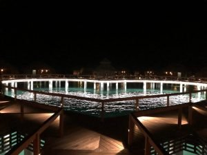 over the water bungalow walkways at night