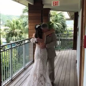 father's first look at daughter as a beautiful bride
