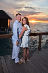 Erica & Joseph at sunset after their destination wedding at Sandals Royal Caribbean