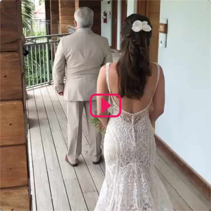 picture of Lindsay and her dads first look at Sandals Montego Bay wedding