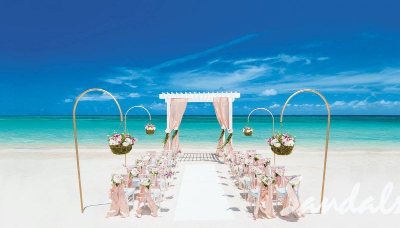 wedding setup on the beach