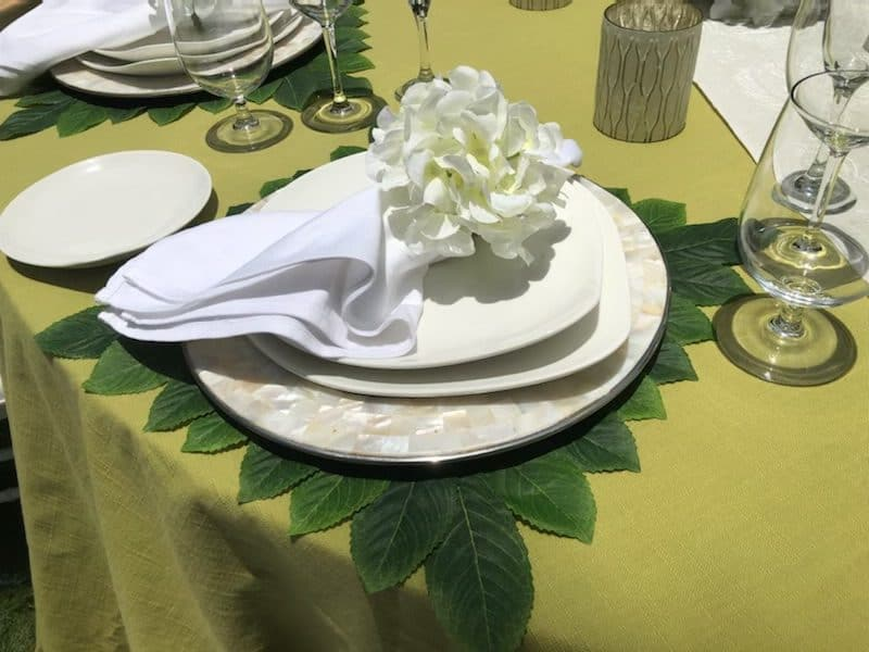 lime green wedding table place setting